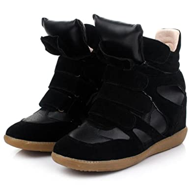 Women&39s Ladies High Top Wedge Hidden Heels Ankle Boots Sneaker