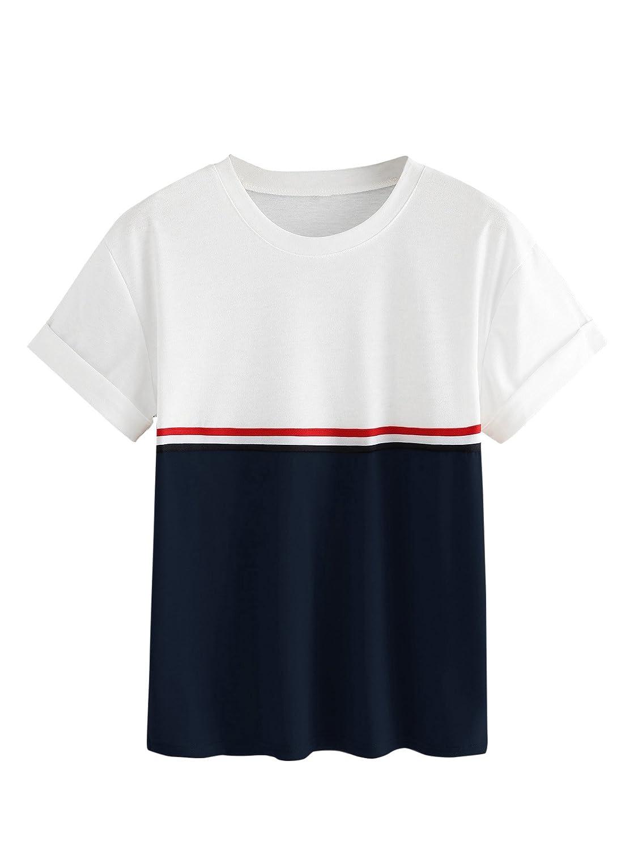7148777a Amazon.com: ROMWE Women's Cute Crop Top Striped Color Block Short Sleeve  Tee Shirt: Clothing