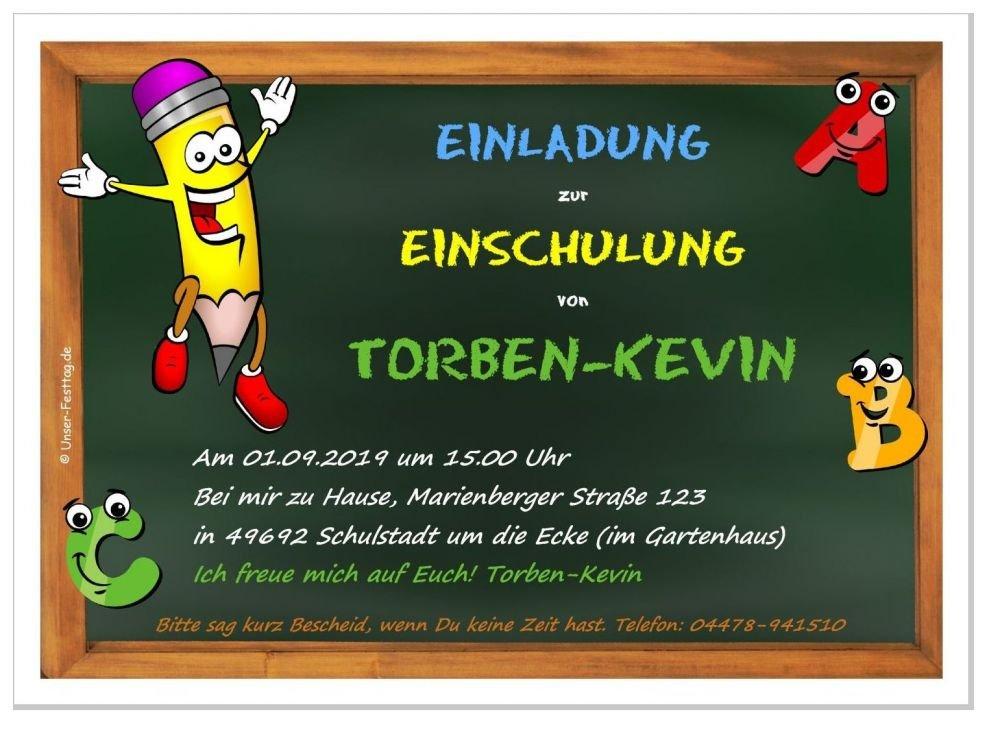 Einladungskarte zur Einschulung Tafel mit Stift Größe DIN A5, 100 Einladungen (21 x 14,8 cm)
