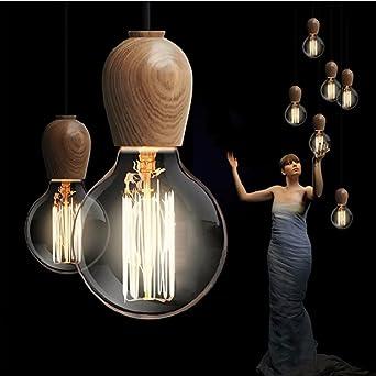 Vintage Pendelleuchte Holz Retro Lampe 100 cm Draht Durchmesser 60 ...