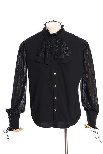 Amazon | メンズ春夏パンクシャツゴシックレーススタンドカラー取り外し可能なネクタイカジュアルロングスリーブトップス | シャツ・ワイシャツ 通販