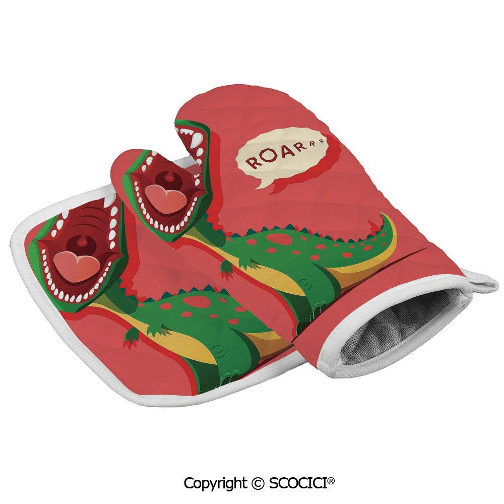 SCOCICI Oven Mitts Glove - Aggressive Prehistoric Cartoon Animal Roaring Open Mouth Wildlife Heat Resistant, Handle Hot Oven Cooking Items Safely