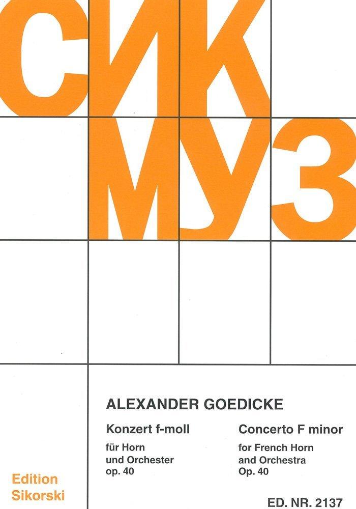 GOEDICKE A. - Concierto Op.40 en Fa menor para Trompa y Piano ...