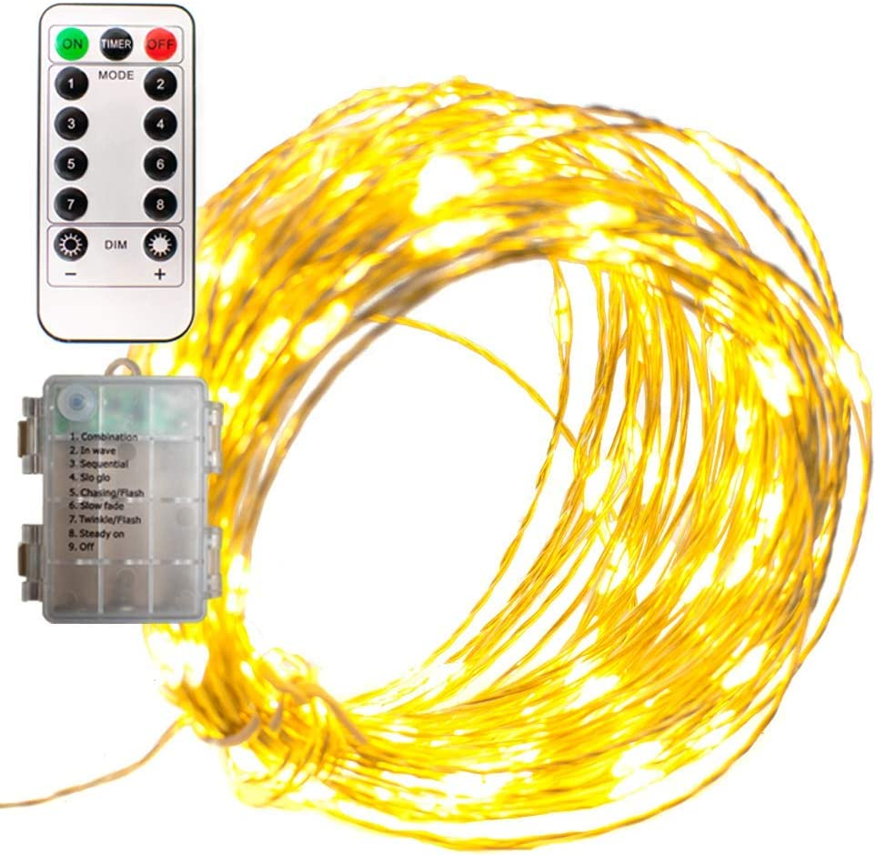LED Christmas Fairy Lights Battery Operated Waterproof 20FT 60L Remote Control 8 Function 12V Silver Wire Warm White Hanging Wire Lighting Indoor Outdoor Home Wedding New Years Holidays Party Lights