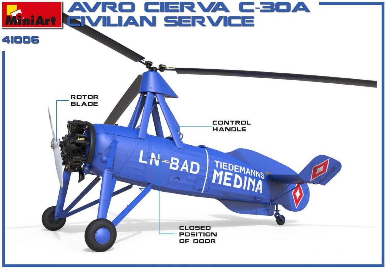 Miniart 41006-1//35 AVRO CIERVA C.30A Civilian Service Scale Plastic Models Kit