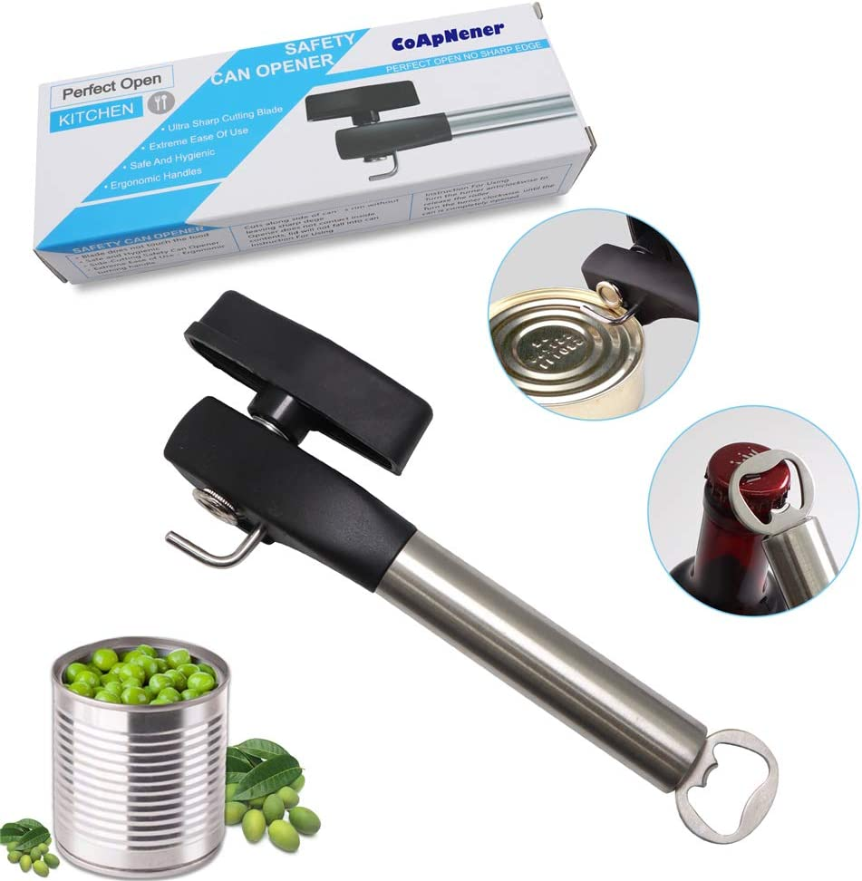 Sharp Manual Can Opener, Smooth Edge Safer Can Opener, Cuts Easily Single Handle Multiple Uses Stainless Steel Bottle Opener Kitchen Tool,One Stop Food Can Opener - CoApNener