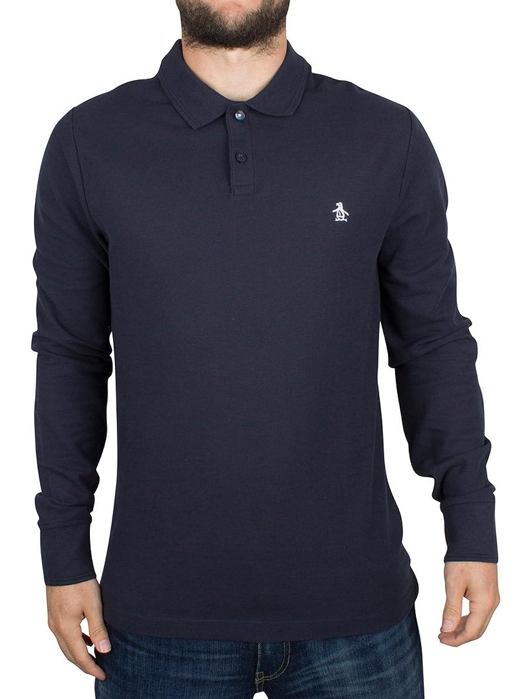 Original Penguin Herren Slim Fit Longsleeved Winston Logo-Polo-Hemd, Blau