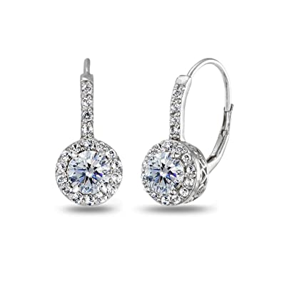 28ed0e80a Sterling Silver Clear Halo Leverback Drop Earrings created with Swarovski  Crystals