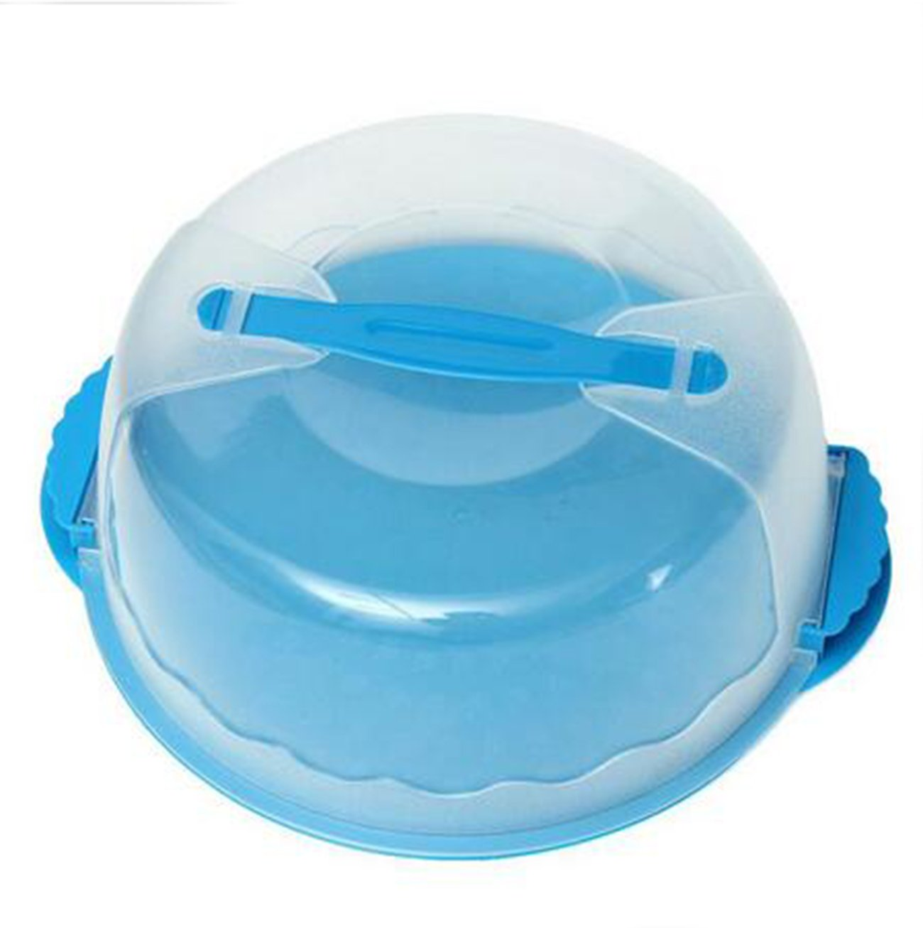 Yosoo Portable Round Clear Cake Caddy Carrier Storage Container Server with Locking Lid and Handle - Assorted Colors - 10 Inch Wide (blue)