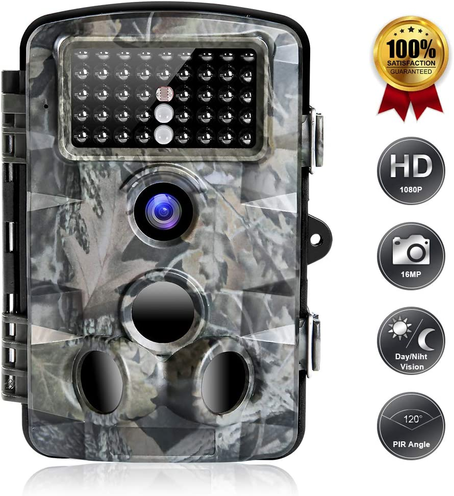 FUNSHION Trail Game Camera, 16MP 1080P Trail Cameras with Night Vision Motion Activated Waterproof IP66 2.4 LCD Hunting Scouting Cam for Wildlife Monitoring 120 Detecting Range 42pcs IR LEDs