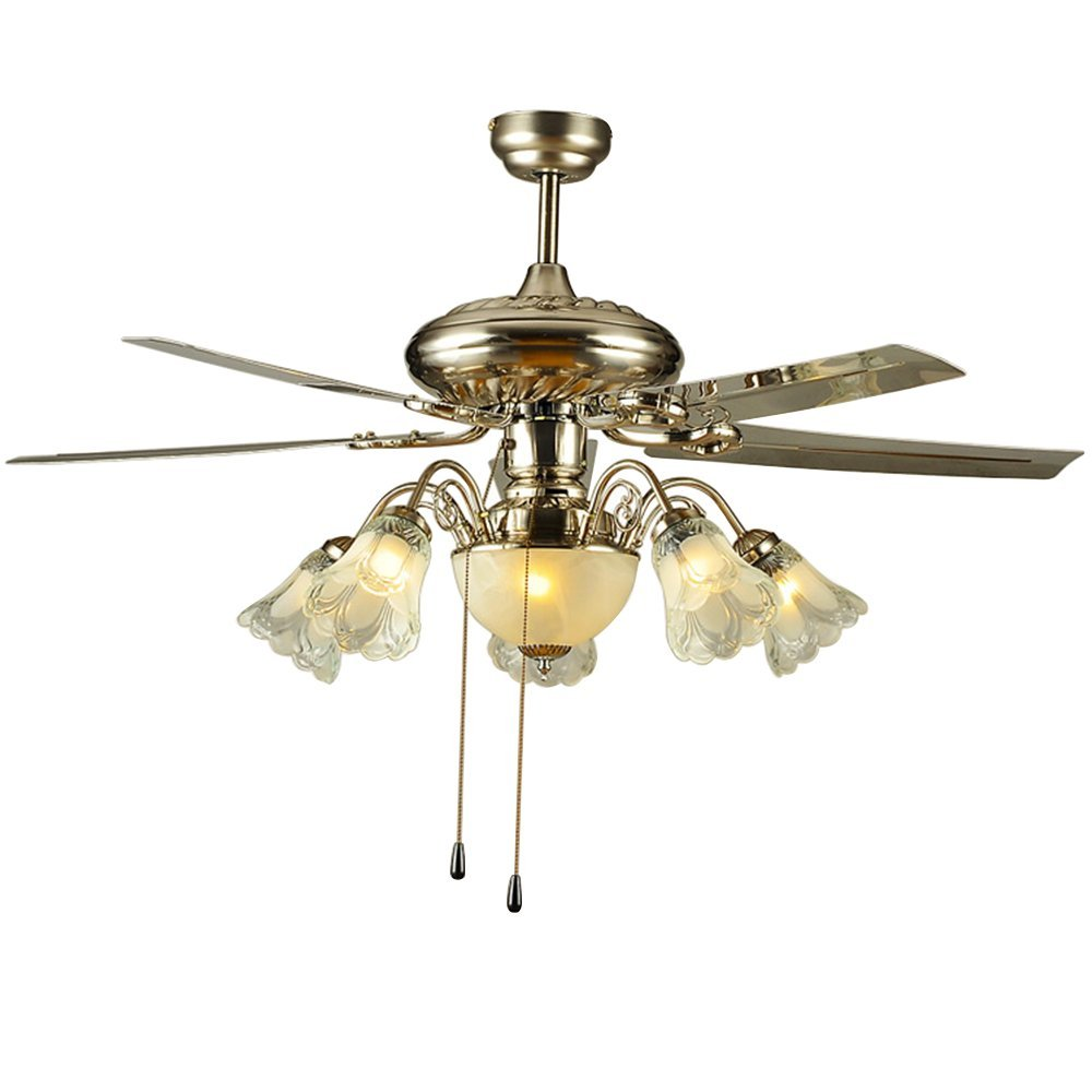 Akronfire Antique Retro Ceiling Fan for Living Room Bedroom Hotel Room Pull Chain Control Simple Modern Fashion Chandelier of 48 Inch