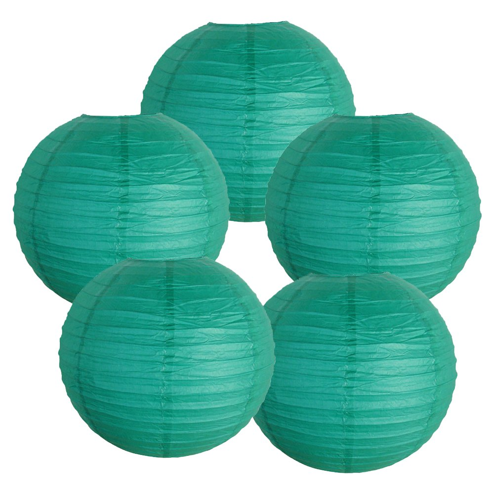 Just Artifacts 12'' Teal Blue Green Paper Lanterns (Set of 5) - Click for more Chinese/Japanese Paper Lantern Colors & Sizes!
