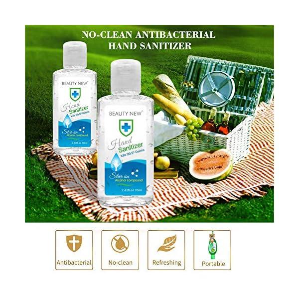 Ploufer 100PCS Desinfectante De Manos Sin Agua 70 Ml, Desinfectante Portátil, Limpiador Enjuague, Tamaño Viaje, En Gel… 6