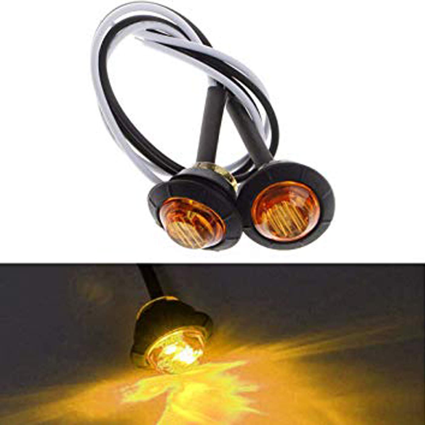 5 Gelb 5 Wei/ße Runde LED Vorne Hinten Seitenmarkierungsanzeigen Licht Wasserdicht Bullet Clearance Markierungslicht 12 V f/ür Auto LKW MuChangZi 15 ST/ÜCKE 5 Rot