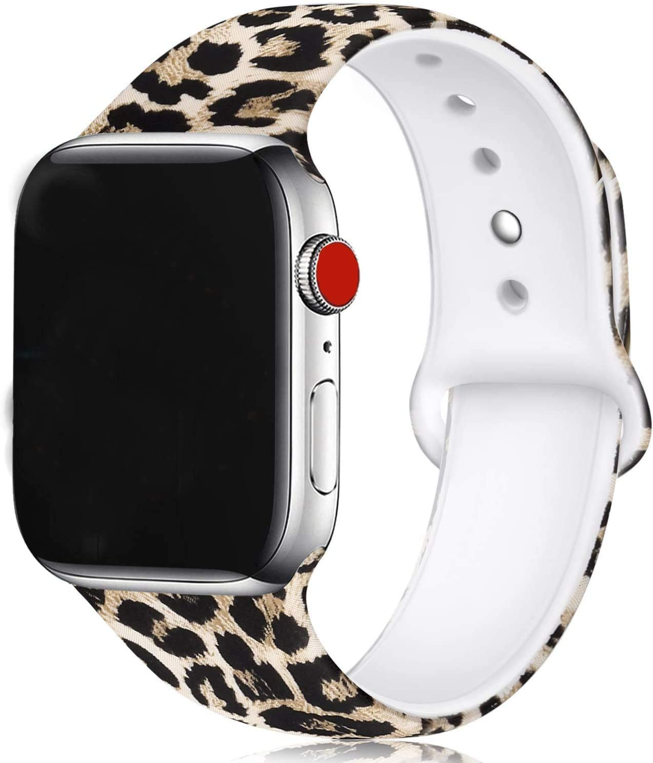 Floral Bands Compatible with Apple Watch Series 4/3/2/1,Silicone Sports Straps Printed Pattern Wristband for iWatch 38mm/42mm/40mm/44mm S/M M/L for Women/Men(Leopard Print)