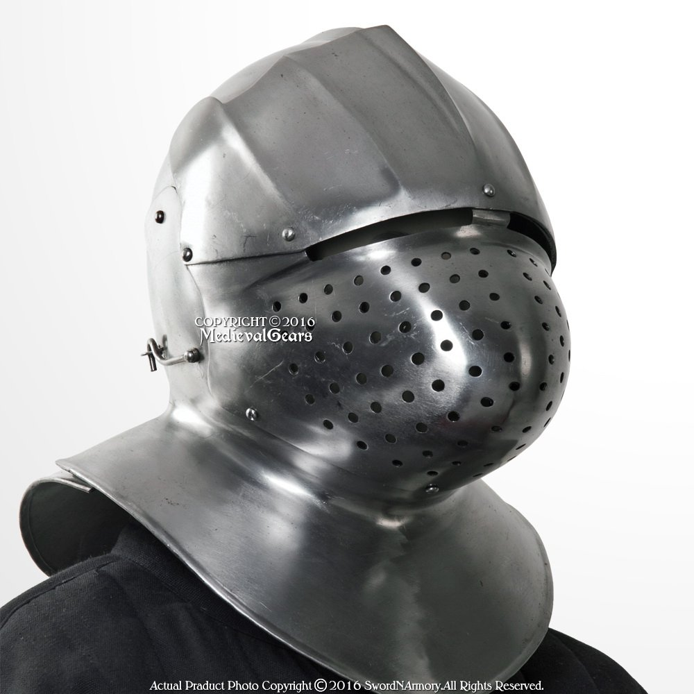 Medieval歯車ブランドイタリア中世Functional 16ゲージスチールSparringヘルメットネックArmor WMA SCA