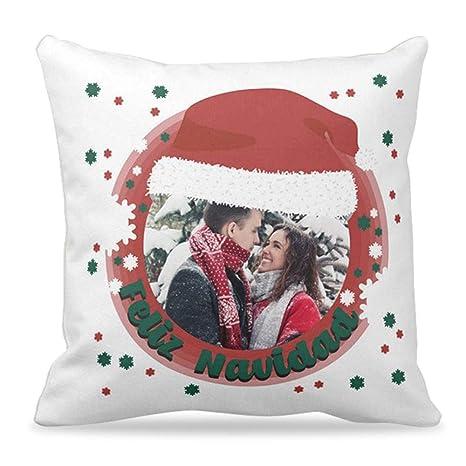 Cojines Navidad personalizados con foto y mensaje navideño | Cojín de 40x40 cm incluye Relleno | Un cojín original para Navidades como regalo y ...