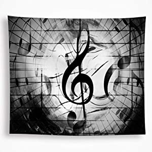Black and White Music Tapestry Wall Hanging Psychedelic Bohemian Mandala Indian Hippy Tapestry Art Home Décor for room Living Room Dorm 82.6