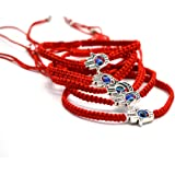 "5pcs ""Lucky"" Hamsa Red String Kabbalah Bracelets Bracelet Bangle Braided String Cord and Rotating ""Evil Eye"" Hamsa Hand - Jewish Amulet Pendant Jewelry for Success and Protection Lucky"