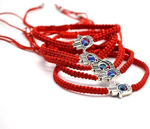 Red Macrame Bracelet hamsa hand Kabbalah   bracelets Protection original spiritual Jewish artisan kabbalah charm