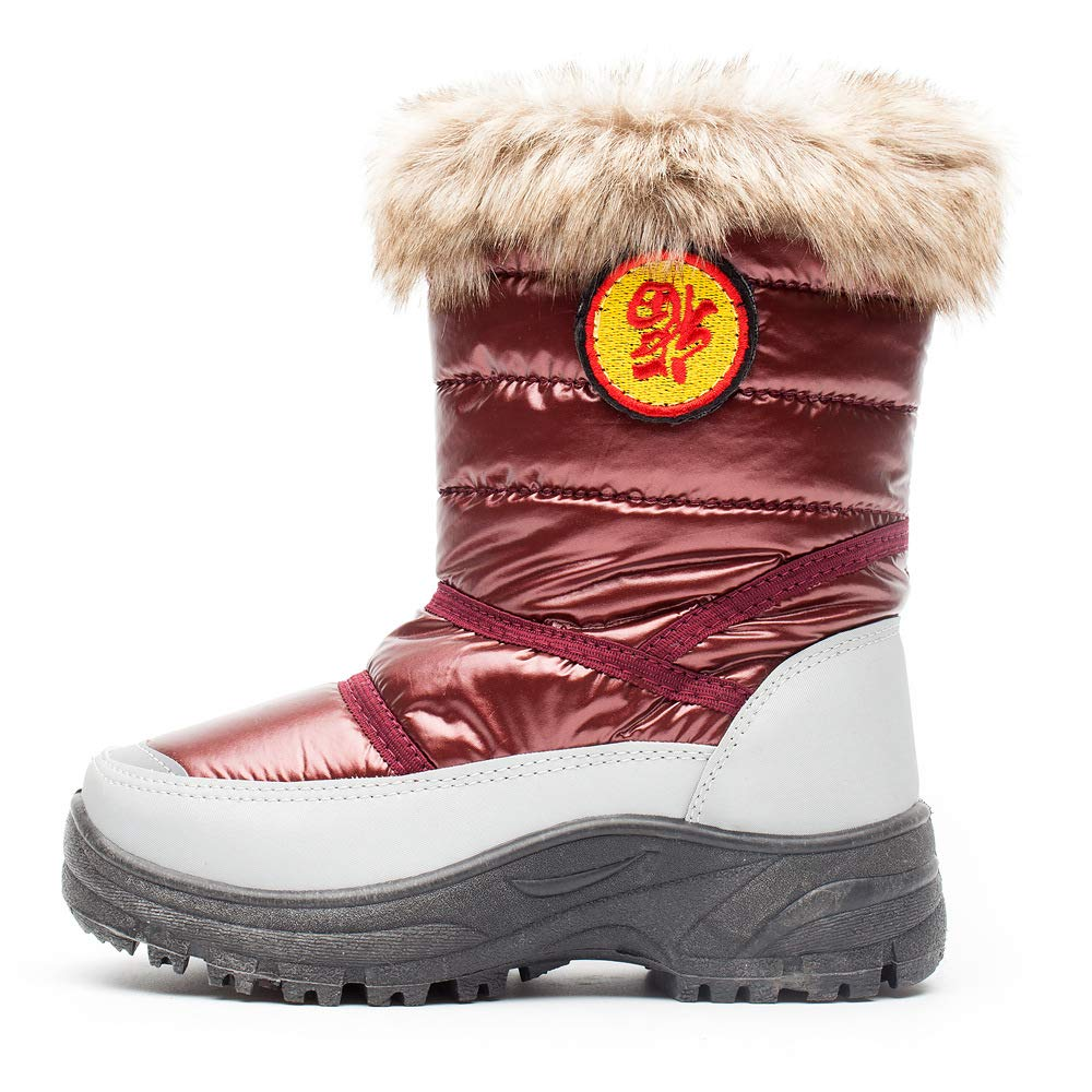 Euro 30, Red Kids Boys Girls Non Slip Winter Snow Boots Toddler Mid Calf Outdoor Resistant Cold Weather Shoes