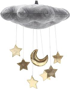 LIOOBO Baby Crib Mobile Decor Plush Cloud Star Moon Baby Bed Art Mobile Baby Photography Props Nursery Baby Rattle Mobile (Grey)