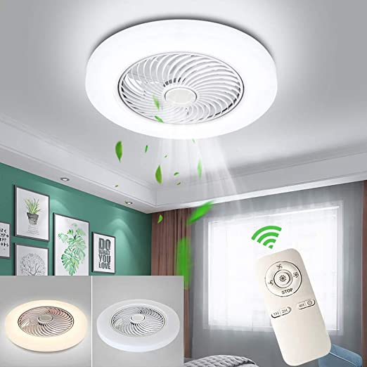 HYKISS Ventilador De Techo LED con Lámpara Moderno 72W Invisible ...