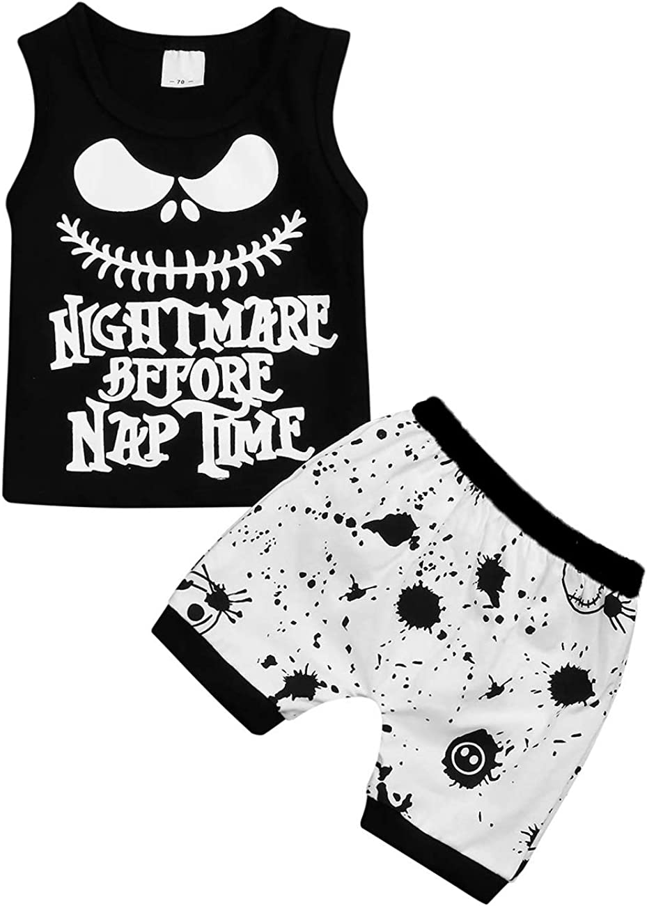 Halloween Todder Baby Boy Girl Clothes 2PCs Outfit Set Nightmare Before Nap Time T-Shirt and Skull Pants 0-6 T