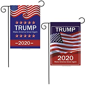 "Soplus 2 Pack American President Donald Trump 2020 Make Keep US America Great Burlap Garden Flag, Double Sided Premium Fabric, US Election Patriotic Outdoor Decoration Banner for Yard Lawn, 12"" x 18"""