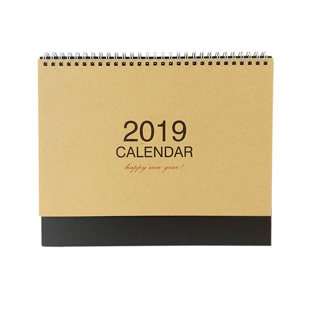 Kxtffeect 2019 Office/Home Desk Standing Calendar Kraft Paper Calendar (January 2019 Through December 2019)