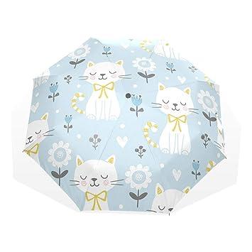 EZIOLY Paraguas de Viaje con diseño de Gatos Blancos, Ligero, Anti Rayos UV,
