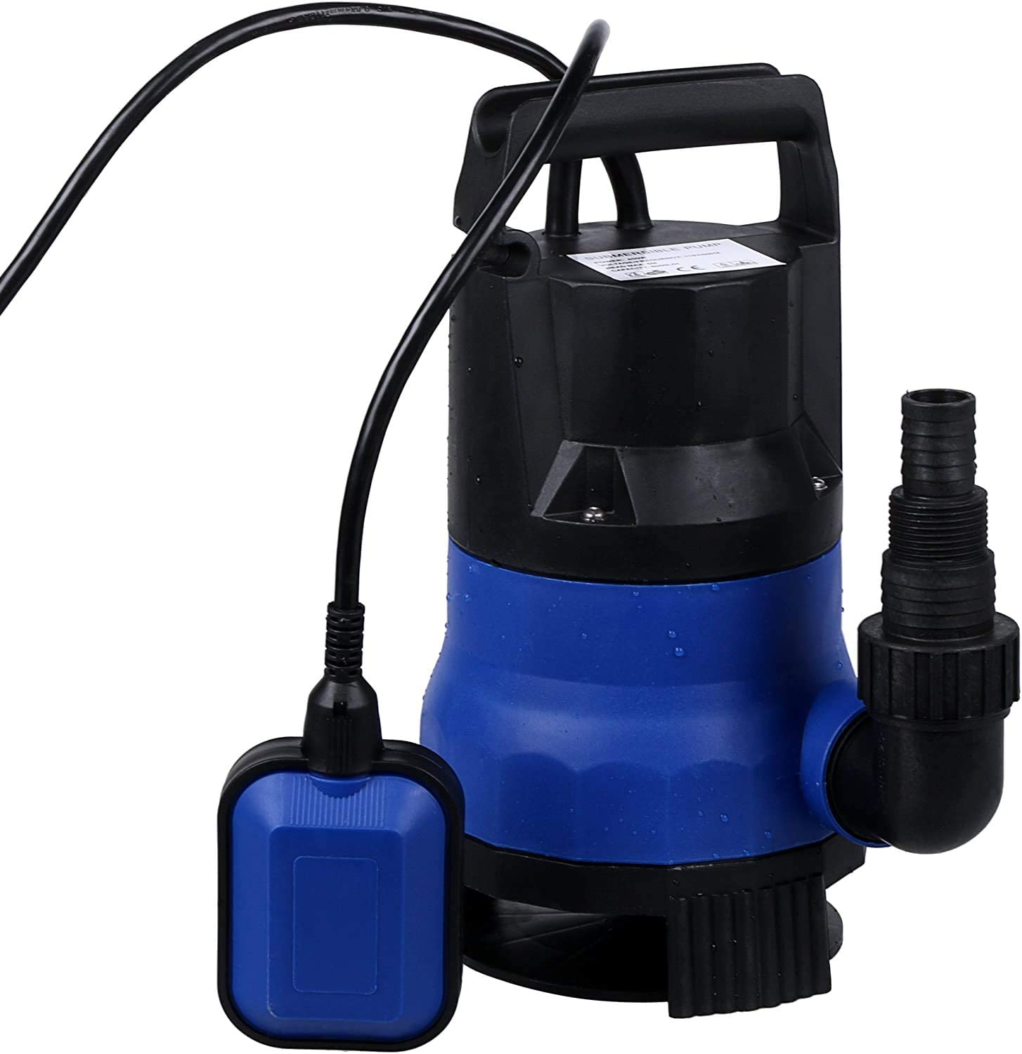 Submersible Water Pump Sump,Homdox 1/2 HP Water pump Clean/Dirty Water 15ft Cable and Float Switch 400W (Blue)