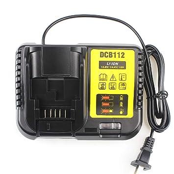 waitley Cargador de batería DCB112 para Dewalt 10.8V 14.4V 18V 2A baterías de Ion de Litio