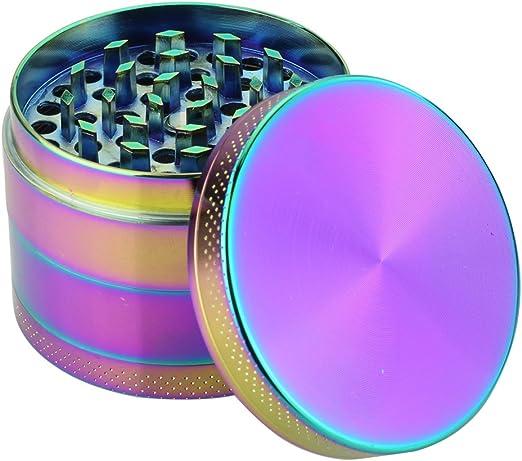 Design Grinder Crusher Sieb Tabak Gewürz Kräuter Mühle 55 mm Metall Rainbow bunt