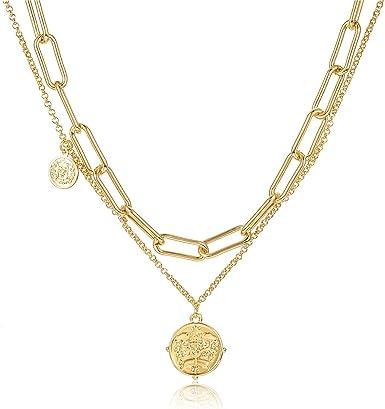 Coin Necklace Coin Drop Necklace Rectangular Link Necklace Gold Coin Y Necklace Layering Necklace Vintage Coin Necklace