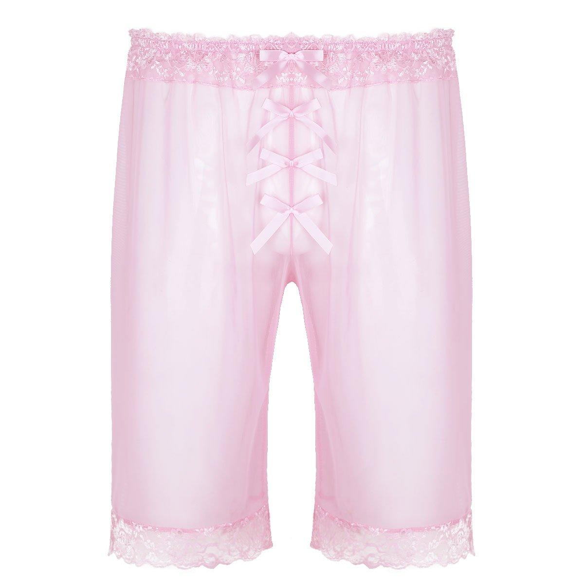 Alvivi Mens See Through Lingerie Sissy Sheer Mesh Lace Bowknot Loose Shorts Pants Underwear