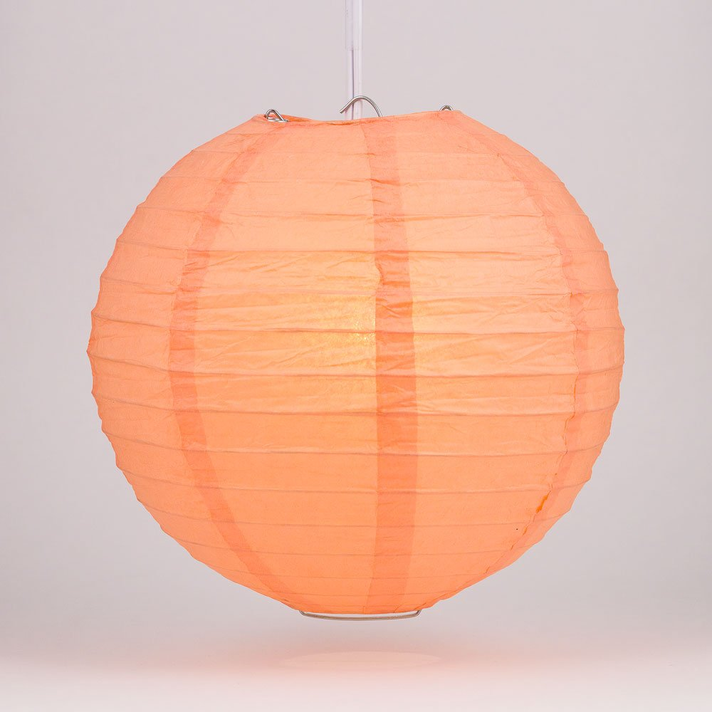 Quasimoon PaperLanternStore.com 12'' Peach/Orange Coral Round Paper Lantern, Even Ribbing, Hanging (10 Pack)