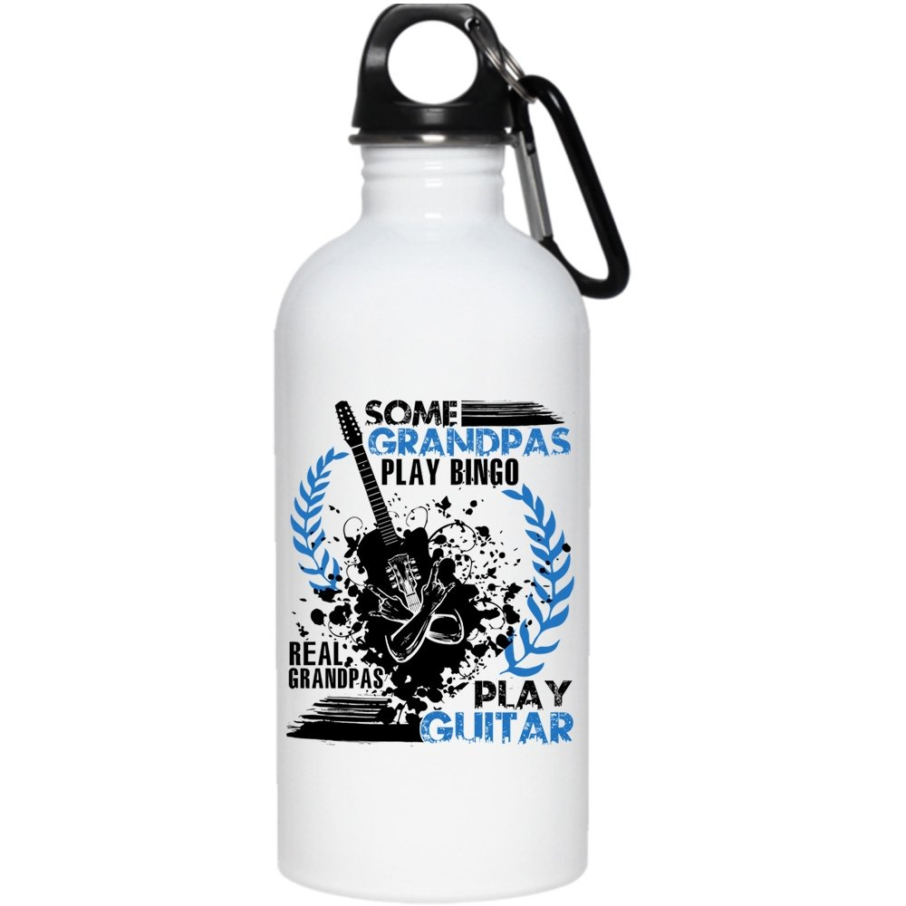 Some Grandpas Play Bingo 20 oz Stainless Steel Bottle,Real Grandpas Play Guitar Outdoor Sports Water Bottle (Stainless Steel Water Bottle - White) by Tiger-Key