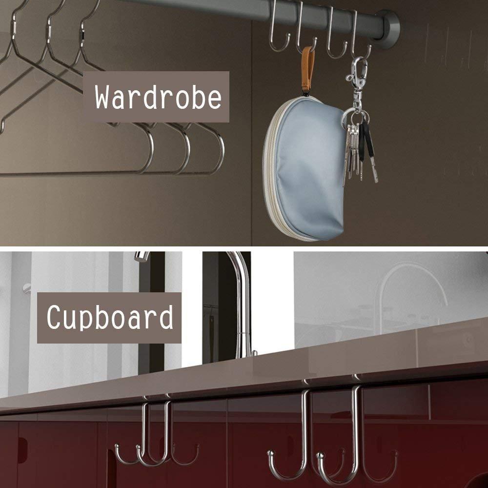 Counter Door Double Hook - 18/8 Stainless Steel Multiple Use S Shaped Distinctive Designed Hanging Over Door Hooks for Your Kitchen,Bathroom,Bedroom,Office,Cabinet Door to Hang Your Bags,Towels,Coat
