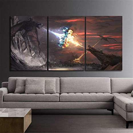 Amazon Com Natvva 3 Piece Us Eries Thrones And Fire Dragon Movie Poster Canvas Painting Wall Art Home Decor Posters Prints