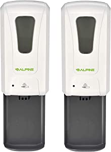 Alpine Industries - Automatic Soap Dispenser - Touchless Hand Sanitizer Liquid/Gel Dispenser with Drip Tray - Ideal for Restaurant, Hospital, School, Hotel, Kitchen and Bathroom -1200mL (Pack of 2)