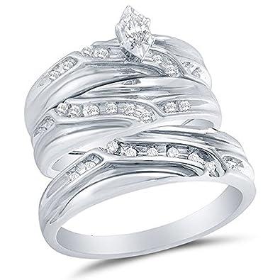 Novelty Jewellery Silvernshine Jewels 14K Yellow Gold Plated 1/4 Ct Round Cut Sim Diamond His & Her Wedding Trio Ring Set Jewellery