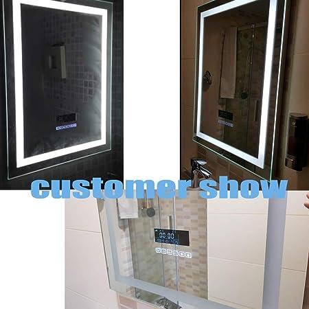 Turefans Espejo baño, Espejo baño con luz, Audio Bluetooth, Pantalla LCD (Fecha, Hora, Temperatura), antivaho, 2 Colores (Blanco frío/Blanco cálido): Amazon.es: Hogar