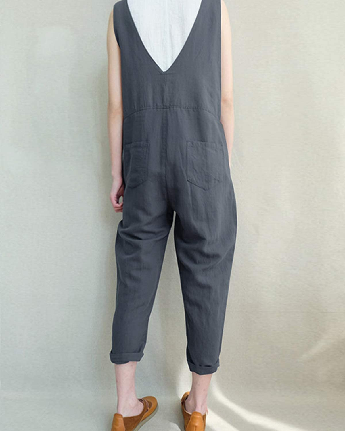 VONDA Womens Strappy Jumpsuits Baggy Overalls Casual Cotton Dungarees