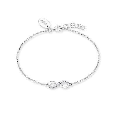 S.Oliver Damen Armband mit Infinity Unendlichkeitszeichen-Anhänger 925  Sterling Silber rhodiniert Zirkonia 17+2 cm weiß  Amazon.de  Schmuck d14a1a9aaa