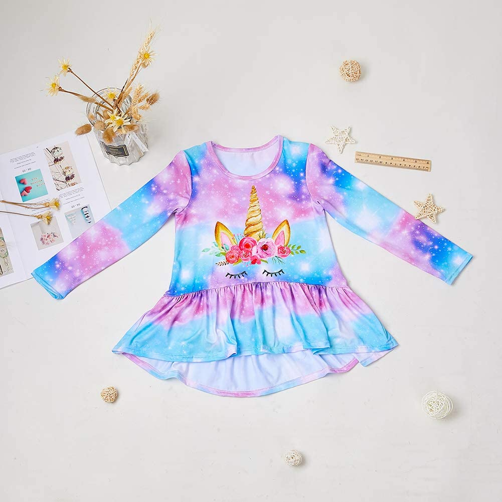MHJY Girls Unicorn Top Tunic Long Sleeve T Shirts Dress Round Neck Casual Jumper Loose Loose Soft Blouse for 4-11 Years Kids