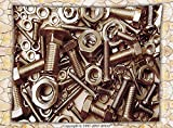 iPrint Industrial Decor Fleece Throw Blanket Assorted Nuts and Bolts Close-up Picture Metal Parts Tighten Screws Supplies Throw