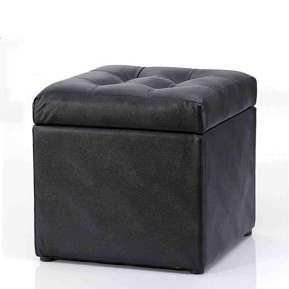 DIDIDD Sofa stool- sofa stool change shoe stool clothing store stool child receiving stool solid wood dressing stool black stool (34 34 42.5cm) --storage stool