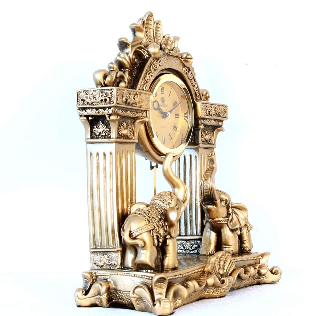 HONGNA European Mute Resin Clock Clock Lucky Town House Elephant Pendulum Clock Retro Quartz Table Clock Living Room Creative Desktop Decoration Clock (Color : B) by HONGNA (Image #6)