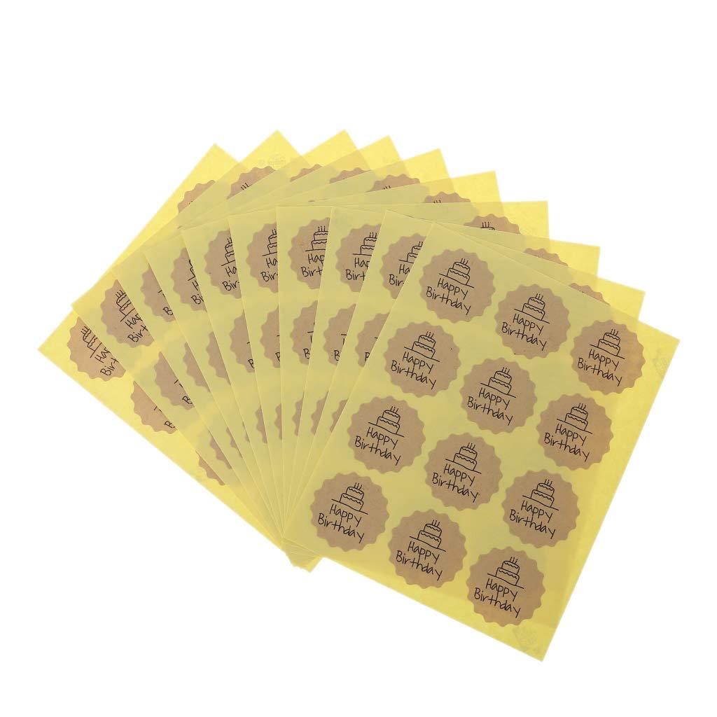 CADANIA 120 Piezas Etiqueta de Feliz Cumplea/ños Sellado Pegatina Embalaje Artesanal Regalo Hecho A Mano DIY